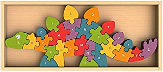 BeginAgain Dinosaur A to Z Puzzle and Playset - Educational Wooden Alphabet Puzzle - 2 and Up