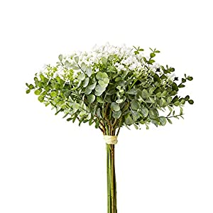 Atinart Eucalyptus Leaves Artificial Flowers Babys Breath 2 Packs Fake Greenery Bunch for Wedding Floral Bridal Party Home Shop Office Bouquet Decor
