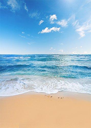 YongFoto 1,5x2,2m Vinilo Fondo Playa Fotografia Mar Paisaje Cielo Azul Nubes Blancas Telón de Fondo Infantil Fiesta Cabina de Fotos Bandera Niños Estudio Fotográfico Accesorios