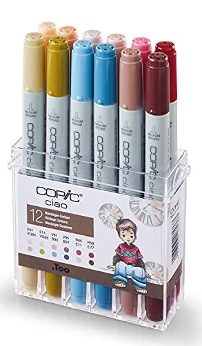 Copic 22075703 Ciao Set da 12, Colori Vintage