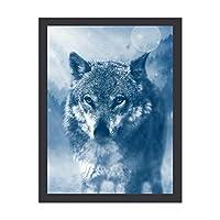 INOV 捕食動物 オオカミ 神秘的な降雪 インテリア 壁掛け 額入り ポスター アート アートパネル リビング 玄関 プレゼント モダン アートフレーム おしゃれ 30x40cm