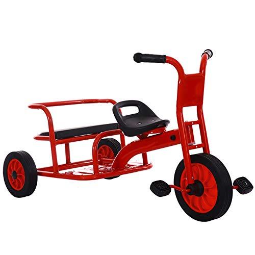 YUMEIGE Dreiräder Kinder Dreirad Doppel Seat2-6 Jahre alt Geburtstagsgeschenk Kinder Kleinkind Trike Kindergarten Dreirad Last Gewicht 150 Kg (Farbe : Red2)