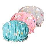 Bonnet de douche, Bonnet de Douche EVA Shampoo Cap Double Couche Imperméable pour Filles et Femmes (3pcs Bonnet de Douche Licorne (Bleu, Rose, Gris))