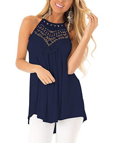 CNFIO Ropa Mujer Tops y Blusas Mujer Sin Mangas Cami Camisetas Elegante Top Mujer Fiesta Sexy Azul Oscuro XXL