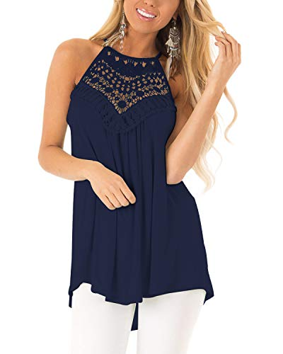 CNFIO Schulterfrei Top Damen Sommer Sexy Neckholder Tops Casual Weste Shirt Aushöhlen Tank Bluse Shirts Navy Blau L