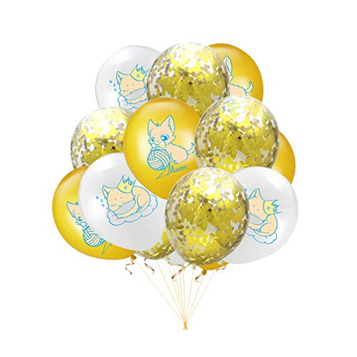 Amosfun 20 Stücke Katze Geburtstagsparty Ballon Set 12 Zoll Glitter Tier Mylar Luftballons Aluminiumfolie Luftballons Katze Geburtstagsparty Liefert Stil 1