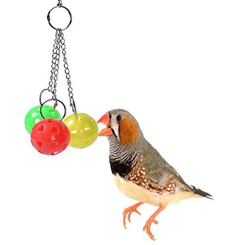 Vogel schaukel Ball mit 3 Saitenketten, Vogel kau Spielzeug, Bunter Ball für Papageien Sittich Biss Kletterspiel