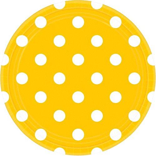 Amscan International 551537–09 Jaune Soleil Pois 23 cm Assiettes en Papier