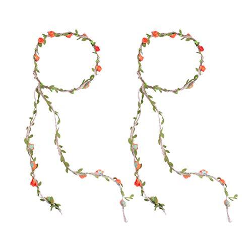 Minkissy 2 stuks rozenhaar wijnstokken lange bloemen slinger hoofdband bloemenblad haar krans voor bruiloftsfeest (rood) Größe 1 oranje