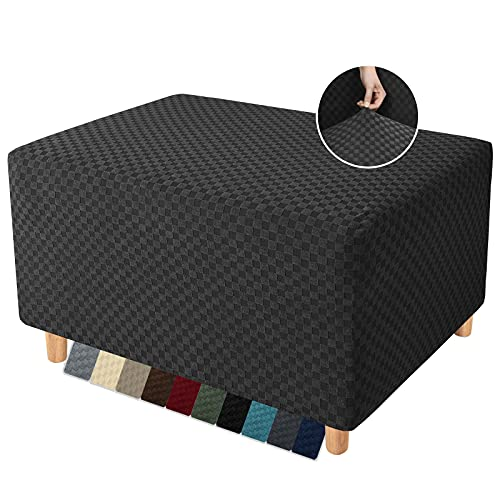 YEMYHOM Couch Cover Sofa Slipcover (Ottoman Large, Black)