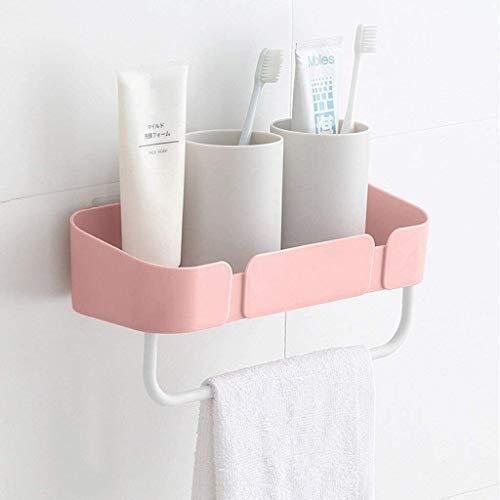 Organizador de ducha, estante de baño, estante de pared para artículos de aseo de baño, estante de montaje sin costuras y estante de ducha con toallero de plástico para pared (color: rosa)