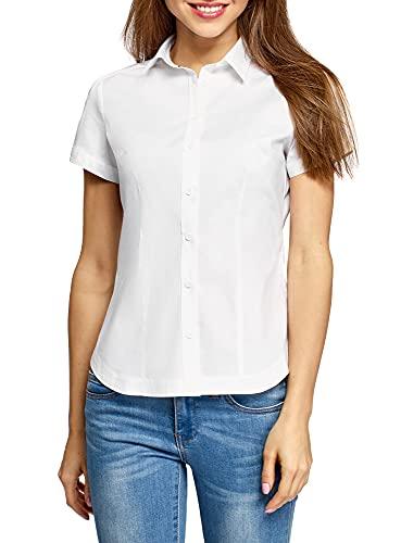 oodji Ultra Mujer Camisa de Algodón de Manga Corta, Blanco, ES 36 / XS