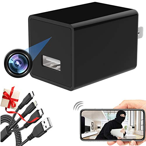 Spy Camera Charger 1080P WiFi Wireless Hidden Camera Plug -Wide-Angle Lens Home Security Motion Detection Alert Baby Cameras - Video Real-Time Viewing Via App - USB Wall Adapter HD Mini Nanny Cam