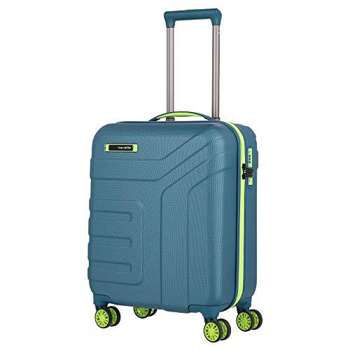 Travelite Gepäck Serie Vector: Robuster Hartschalen Trolley in stylischen Farben, 4-Rad Handgepäck Koffer mit TSA Schloss erfüllt IATA Borgepäck Maß, 072047-22, 55 cm, 40 Liter, Petrol/Limone