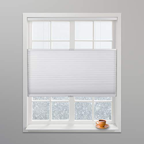 Arlo Blinds White Light Filtering Top Down Bottom Up Deluxe Cordless Cellular Shades - Size: 34' W x 60' H, Cordless Honeycomb Blinds