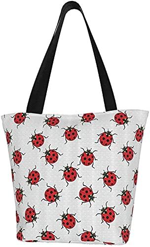 Mariquitas Bolsa de lona para mujer, bolsa de comestibles reutilizable, lindas bolsas, bolsa de compras impresa, bolsas de playa, bolsas de regalo, bolsas de dama de honor, bolsa de libro