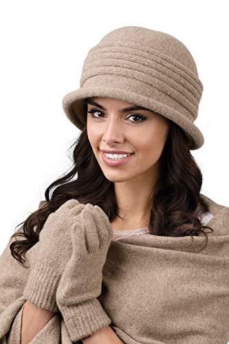 Kamea - Winterset für Damen Salerno - Damenhut mit passendem Schal - verschiedene Farbauswahl, Winter Set:Hellbraun