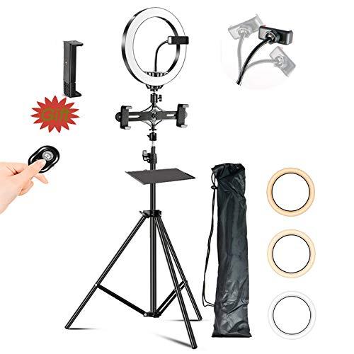 ZJING Ringlicht Mit Ständer, Dimmbares LED-Selfie-ringlicht Mit Telefonständer, Geeignet Für Live-Übertragung, Fotografie, Make-up, Beleuchtung,D,2.1m