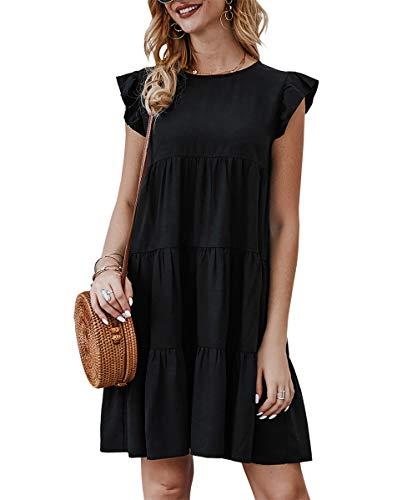 KIRUNDO Women's Summer Mini Dress Sleeveless Ruffle Sleeve Round Neck Solid Color Loose Fit Short Flowy Pleated Dress (Small, Black)
