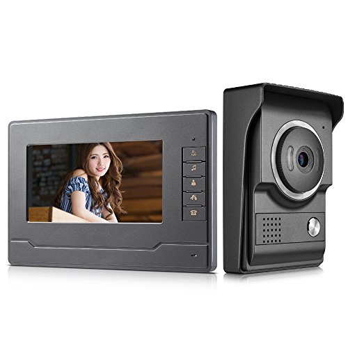 AMOCAM Video Intercom System, 7 Inches Monitor Video doorphone Doorbell System, Wired Video Door Phone HD Camera Kits Support Unlock, Monitoring, Dual-Way Intercom for Villa House Office Apartment