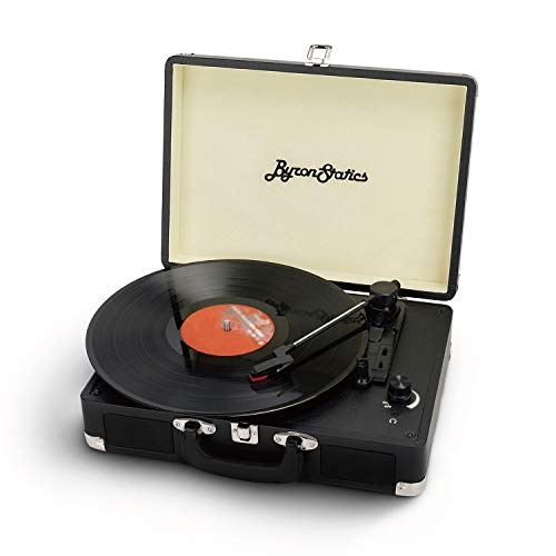 Byron Statics Vinyl Record Player, 3 Speed Turntable Record Player with 2 Built in Stereo Speakers, Replacement Needle, Supports RCA Line Out, AUX in, Portable Vintage Suitcase