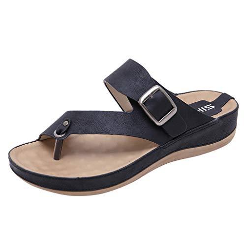 ZIYOU Damen Strand Hausschuhe, Sommer Peep-Toe Pantoffeln mit Metall Gürtelschnalle Komfortable Flach Schuhe(Schwarz,36 EU)