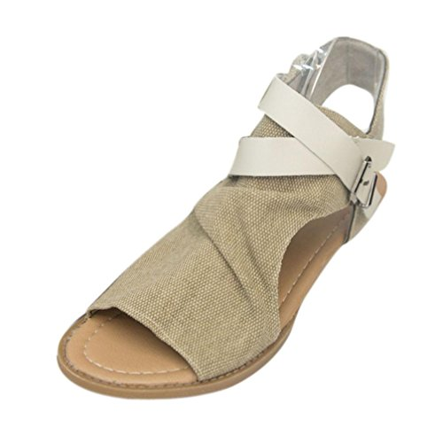 OHQ Zapatos para Mujeres Sandalias Planas De Boca De Pescado De Mujer...
