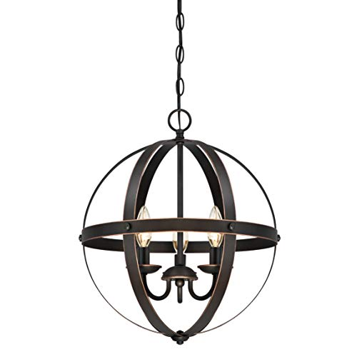 63418 Dreiflammiger Leuchter Stella Mira von Westinghouse Lighting für Innenbereiche, Ausführung in geölter Bronze mit Akzenten