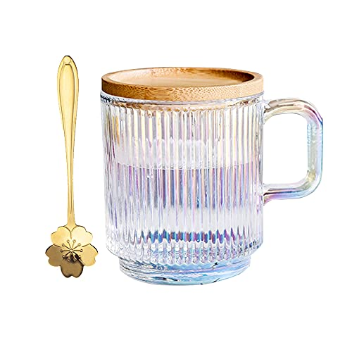 Clear iridescent glass mug with lid and cherry blossoms spoon, tea mugs coffee glass cup, pretty mug for milk latte chocolate juice water,gift for women men birthday christmas (white)