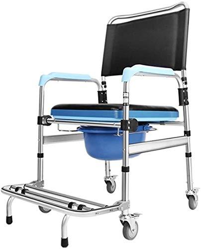HMMN Aleación de Aluminio Plegable con Silla de Inodoro con Ruedas, Usado para Personas Mayores discapacitadas. (Color : A)
