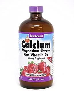 Bluebonnet Nutrition Liquid Calcium Citrate Calcium Citrate, Magnesium Citrate, Vitamin D3, Bone Health, Gluten Free, Soy Free, Milk Free, Kosher, 16 fl oz, 32 Servings, Strawberry Flavor