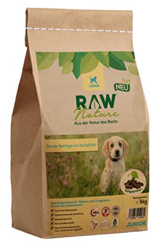 RAW Nature Trockenfutter JUNIOR | Natürlich Kaltgepresst | Getreidefreies Hundefutter | Vollwertkost | hoher Fleischanteil | hochwertiges Muskelfleisch | ohne künstliche Zusätze | Welpenfutter (5 kg)