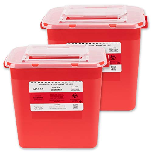 Alcedo Sharps Container for Home Use 2 Gallon (2-Pack)   Biohazard Needle and Syringe Disposal   Professional Medical Grade