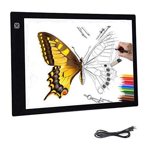 Freeas LED A4 Almohadilla de caja de luz Ultra delgado con 3 brillo ajustable Art º Arte Dibujo Rastreo Tatuaje Tablero Caja ligera, Alimentación por USB