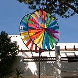 CIM Windspiel - Magic Wheel Twin 35 - UV-beständig und wetterfest - Windräder: 2xØ35cm, Höhe: 97cm - inkl. Fiberglasstab - Vielseitige Haus und Gartendekoration