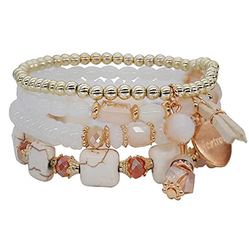 Younoo1 - Pulsera de perlas apilables bohemias para mujer y niña, elástica, estilo bohemio, elástico, multilayered