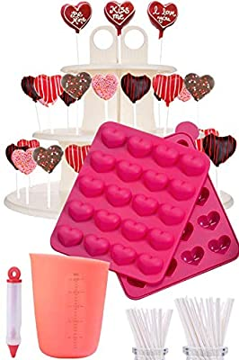 I????CAKE POPS KIT - Jam packed with silicone heart shaped cakepop baking mold, 120 lollipop sticks, candy and chocolate melting pot, decorating pen, bags, twist ties & 3-Tier display stand holder by Cakes of Eden