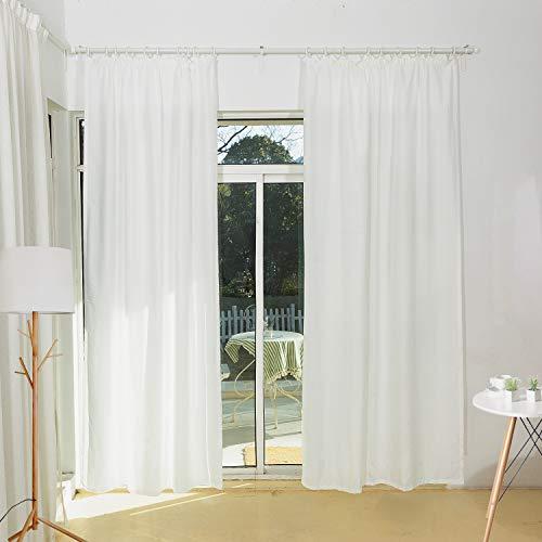 SCM Vorhang mit weichem Mikrofaser Touch Gardine mit Kräuselband Vorhänge Fertiggardine Blickdicht Weiß Claire, (2er-Set, je 245x140cm)