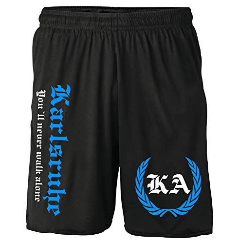 Karlsruhe Kranz Shorts | Fussball Sport Sommer Ultras Kurze Hose Sporthose (XXL, Schwarz Kranz M2)
