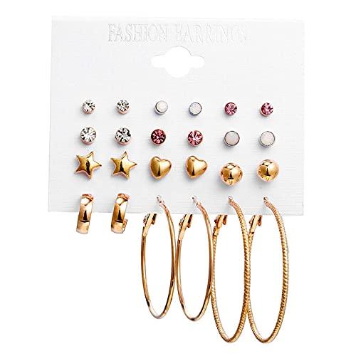 FEARRIN Pendientes Joyas Pendientes geométricos para Mujer Pendientes Colgantes de Color Dorado Borla Larga de Metal Pendiente Colgante Declaración de joyería F1755