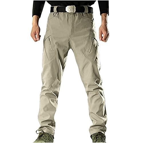 Loiy Pantalones de jogging para hombre, de algodón, pantalones de deporte, largos, varios bolsillos, ropa de trabajo, Combat Safety Cargo, Caqui, M