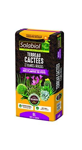 Solabiol TERCAC6 Terriccio per Cactus e Piante grasse, 6 l, Crescita vigorosa, Utilizzabile in Agricoltura Biologica, 6 Litri, Marrone, 21 x 50 x 5 cm