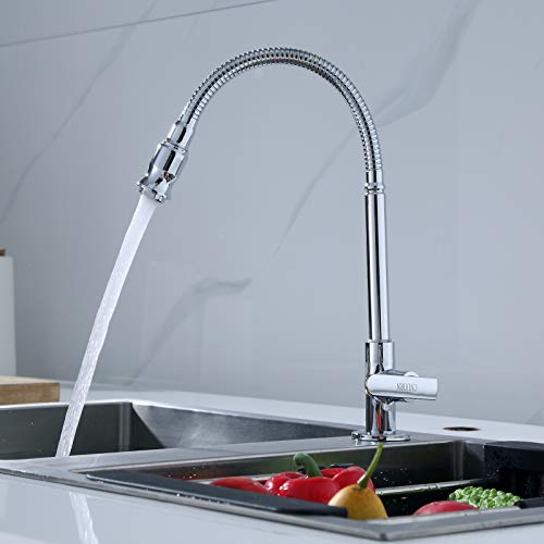 360 Rotatable Kitchen Bar Bathroom Sink Faucet Single Cold Water Flexible Neck Laundry Room Garden Outdoor Application Faucets Tap by Churun