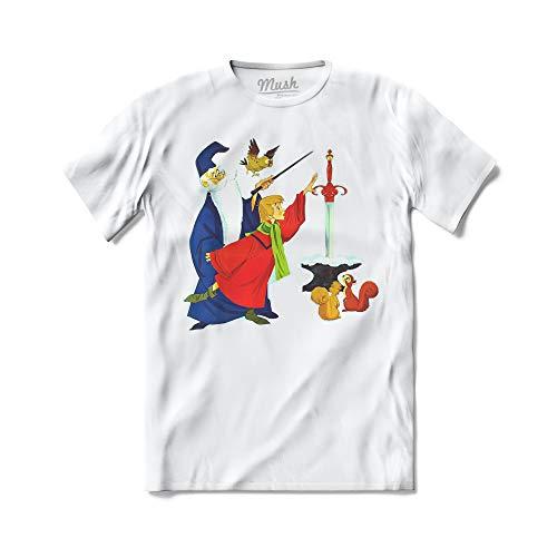 MUSH T-Shirt La Spada nella Roccia Semola Mago Merlino - Cartoni - 100% Cotone Organico, 5-6 Anni, Bianco