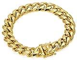 Cadena de eslabones cubanos de acero inoxidable chapado en oro de 18 quilates con cierre de caja seguro, collar de joyería Hip Hop Dorado