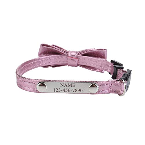Personalized Master Custom Name & Phone Numbers Pet ID Tag Cat Collar with Bow Tie & Bell Breakaway Adjustable Pet Collar for Small Pet Cats Kittens, Pink