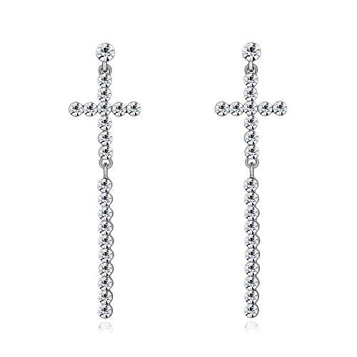 Pendientes Colgantes Cruz Diamantes de Imitación Mujeres