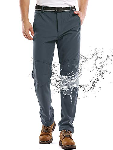 Jessie Kidden Waterproof Pants Mens, Hiking Snow Ski Fleece Lined Insulated Soft Shell Winter Pants with Belt #5088-Grey,38