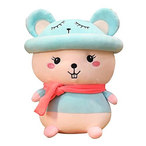 STOBOK 25 Cm Felpa Ratón Bufanda Sombrero Rata de Peluche Animal Zodiaco Rata Juguete Mascota Niños Regalos para 2020 Año Nuevo Chino Día de San Valentín Azul