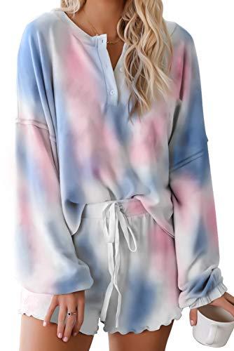 Magritta Casual Sweatsuit Womens Tie Dye Pajamas Set Henley Lightweight Warm Winter